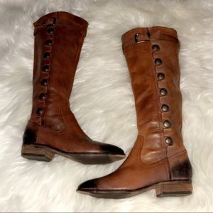 ARTURO CHIANG Tall Brown Leather Button Boots